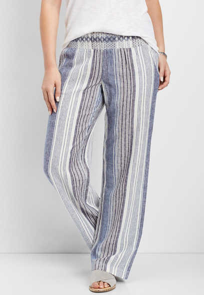 striped pull on pant