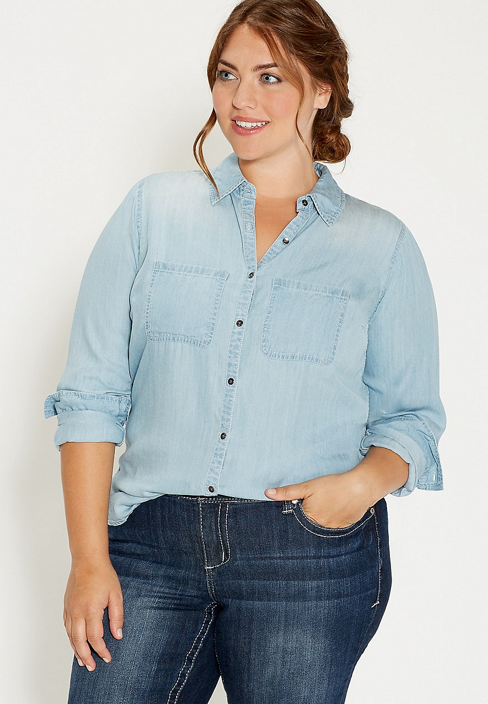 6fe04b4eb17 plus size chambray button down shirt in light wash