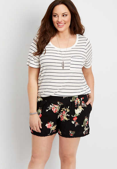plus size floral soft short