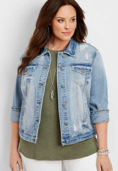 plus size Silver Jeans Co.® vintage destructed denim jacket