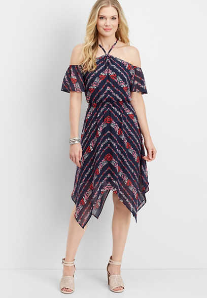 cold shoulder sharkbite hem dress