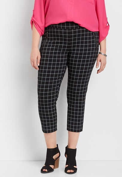 plus size pull on plaid crop pant