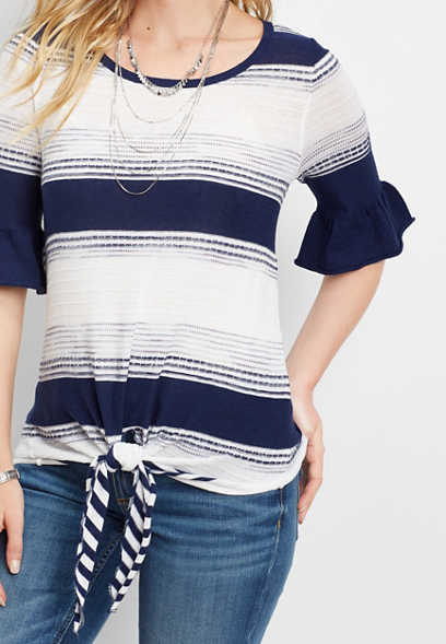 striped front tie pullover