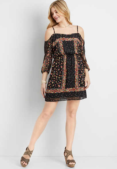 patterned cold shoulders chiffon dress