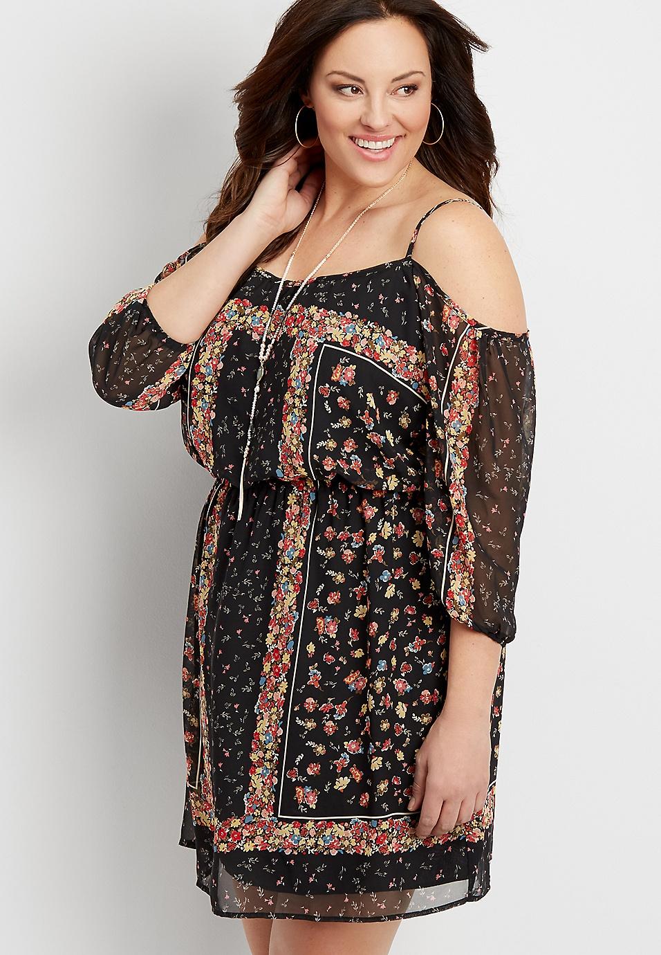 plus size cold shoulder floral chiffon dress | maurices