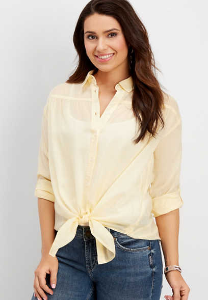 oversized tie front button down shirt