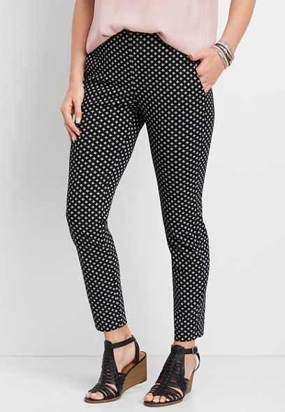 pull-on diamond print skinny ankle pant