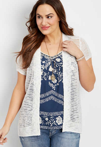 plus size open stitching cardigan