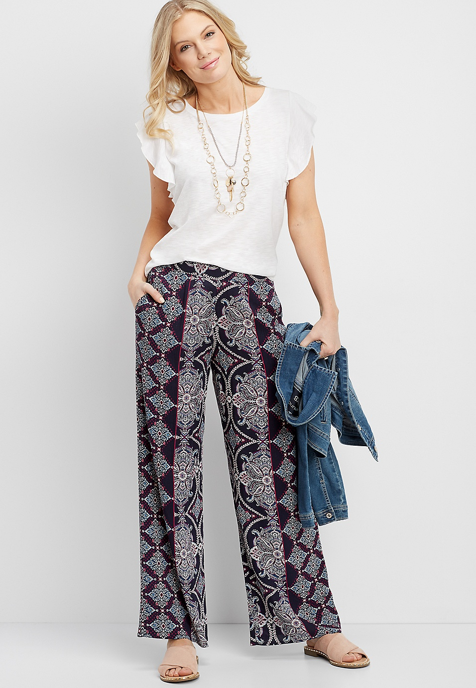 20eb7879abf90 navy printed wide leg pull on pant