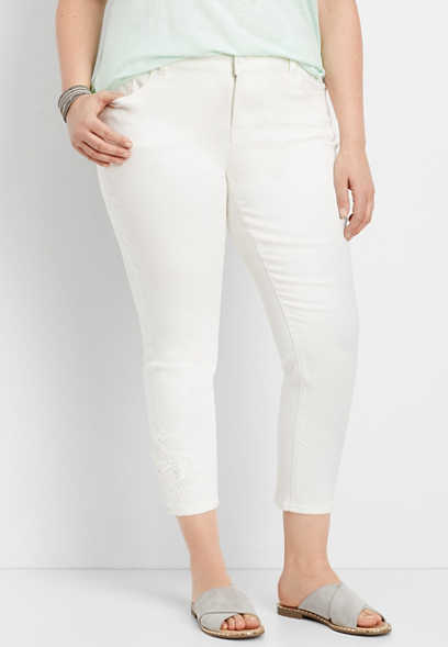 plus size DenimFlex™ white crocheted cropped jean