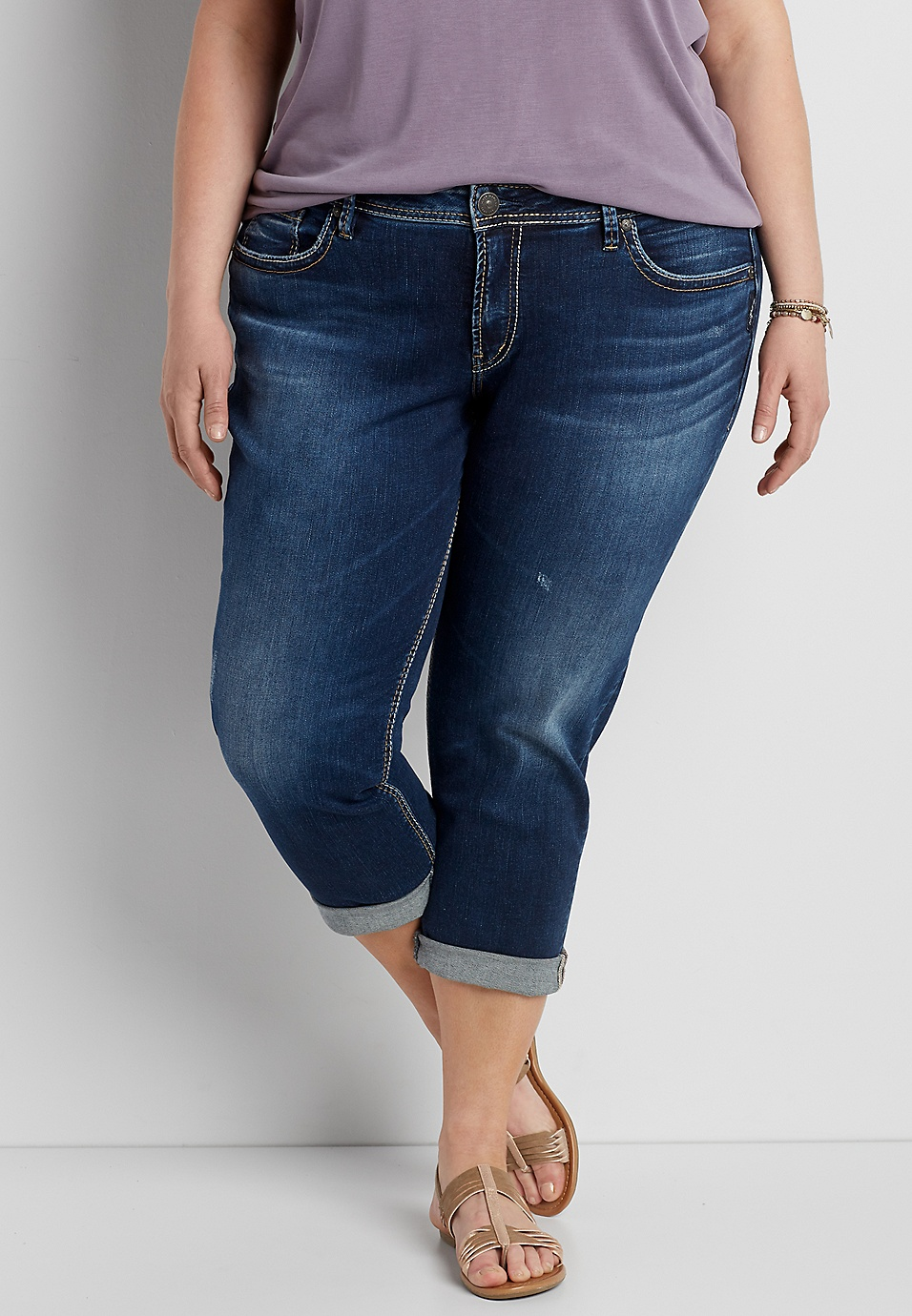 f161c610b410d Silver Jeans Co.® plus size Sam dark wash boyfriend capri