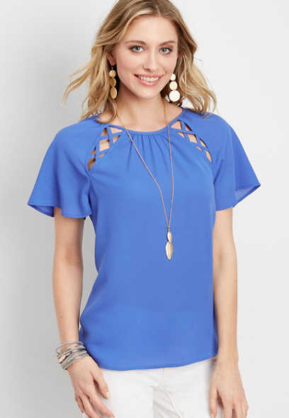 flutter sleeve lattice tee