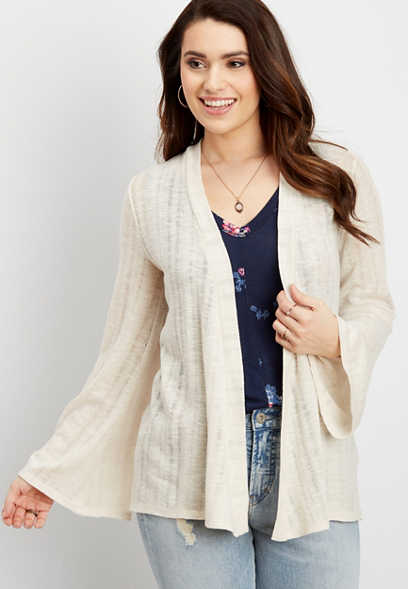 cinch back cardigan with bell sleeves