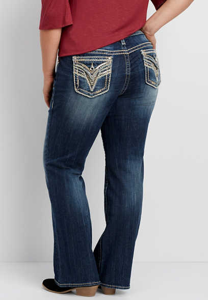 Vigoss® plus size bootcut jean with rhinestone and sequin pockets