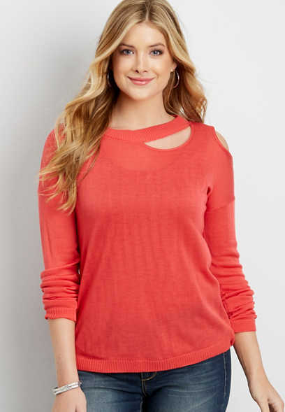 pullover sweater with single cold shoulder and cut out neckline