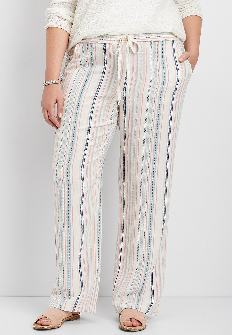 287fa9fdf3ba plus size striped wide leg pant | maurices