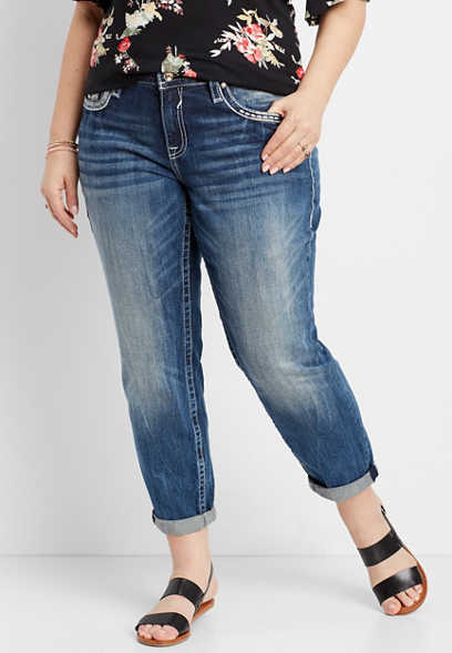 plus size Vigoss ® medium wash boyfriend jean