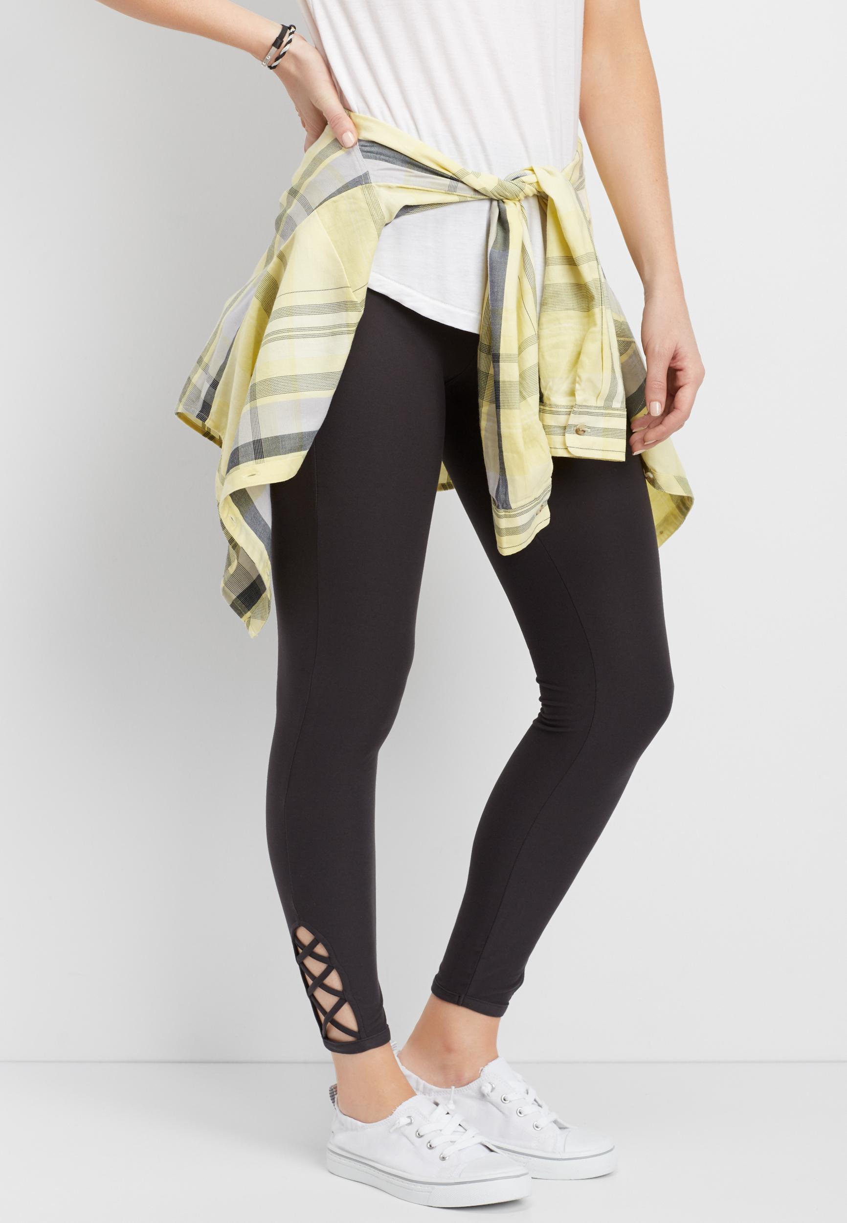 Ultra-Soft 7/8 Lattice Side Legging Maurices
