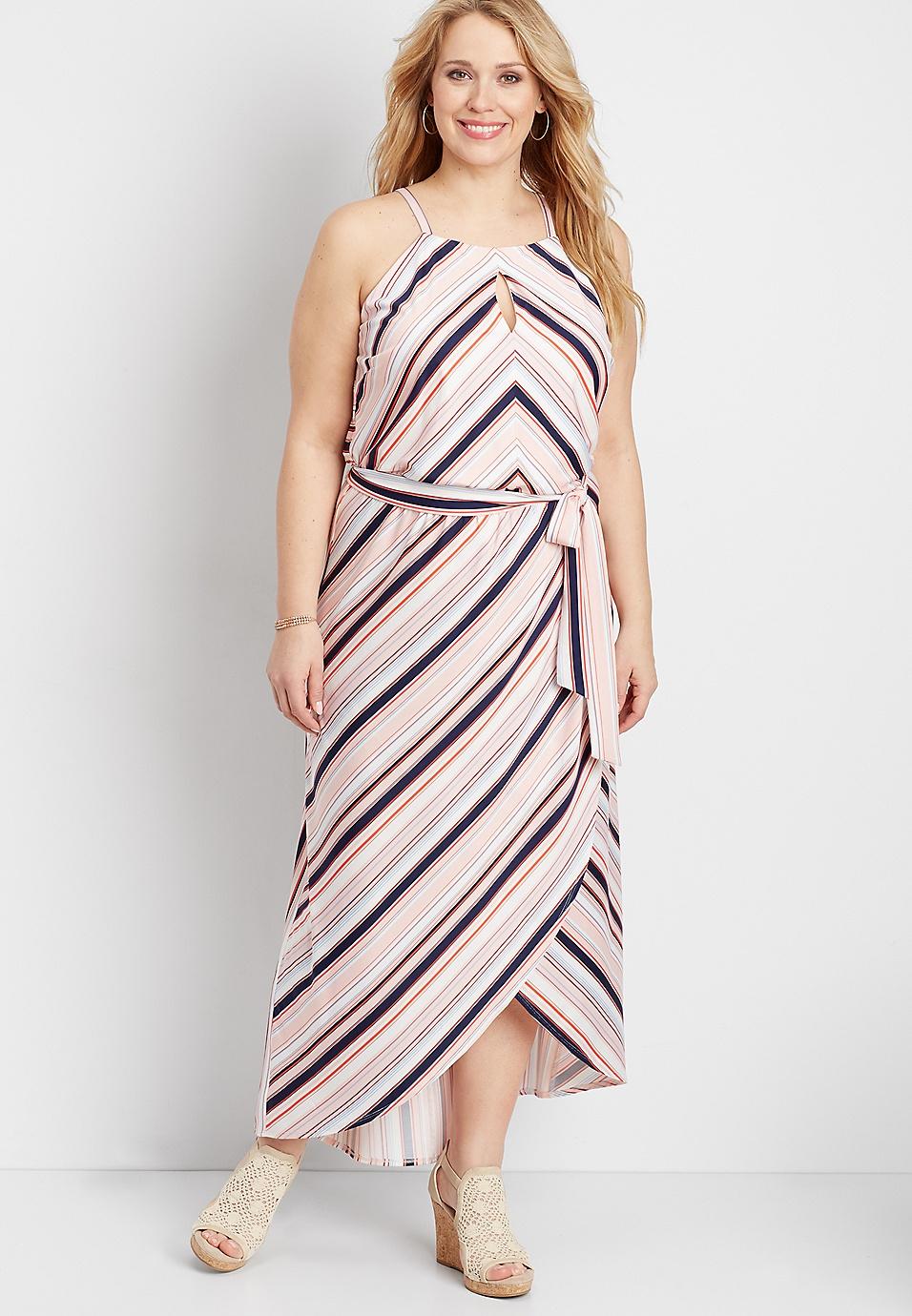 RTV - plus size striped front slit maxi dress