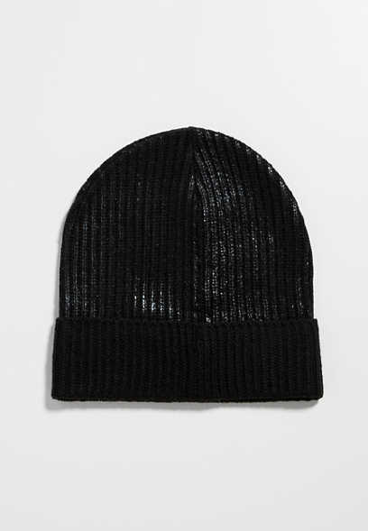 ribbed knit beanie with shimmer
