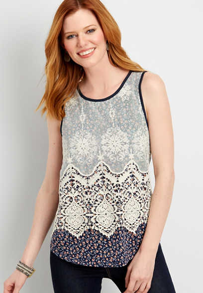floral tank with lace overlay