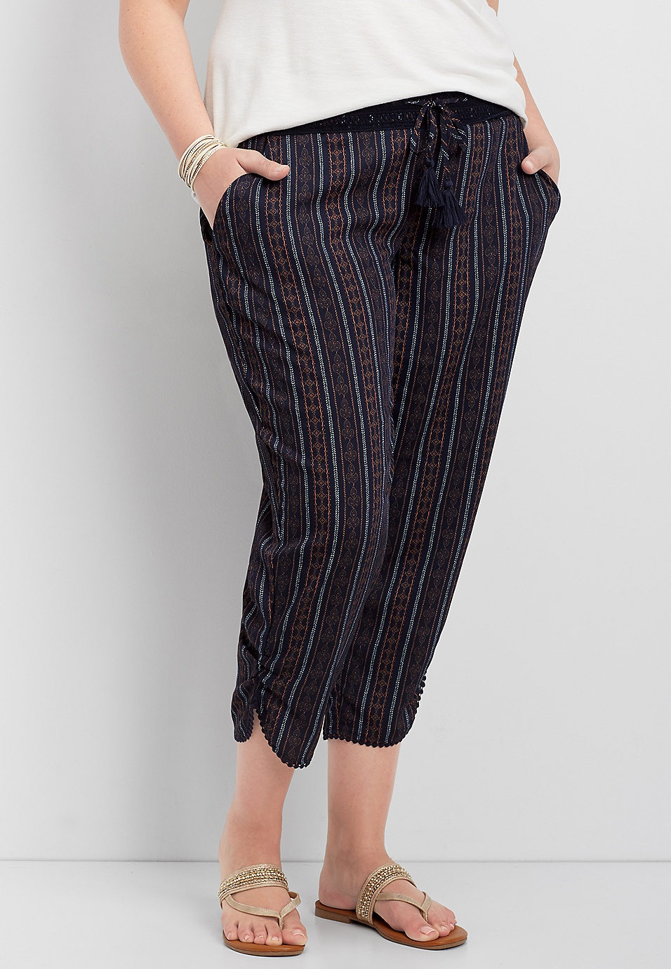52d52245986 plus size crocheted waist striped crop pant
