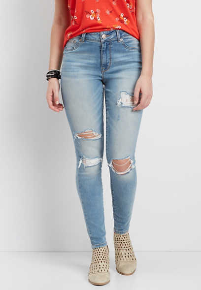 DenimFlex™ high rise jegging with lace lined destruction
