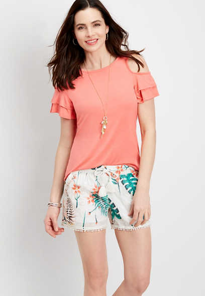 tropical leaf soft short