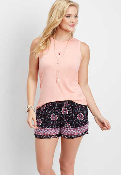 floral smocked waist soft short