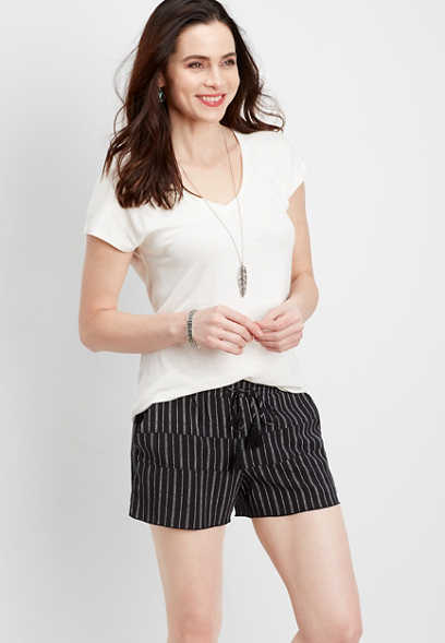 tiered stripe soft short