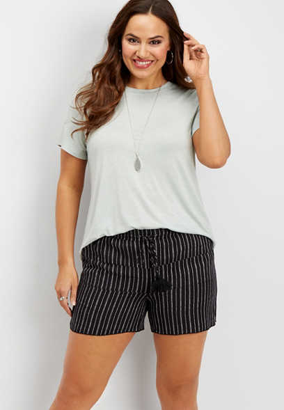 plus size tiered stripe soft short