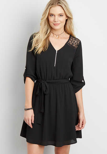 textured dress with floral lace yoke