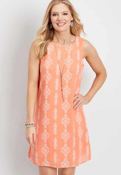 diamond print tank dress