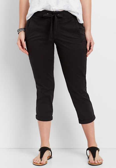 knit waist black capri