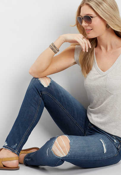 Silver Jeans Co.® Mazy high rise destructed skinny jean