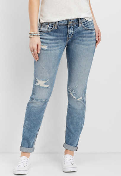 Silver Jeans Co.® Sam medium wash destructed boyfriend jean