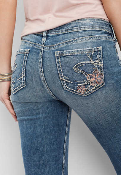 Silver Jeans Co.® Elyse floral pocket cropped skinny jean
