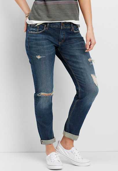 Silver Jeans Co.® Sam destructed boyfriend crop jean