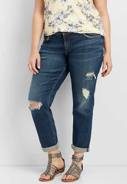 plus size Silver Jeans Co.® Sam destructed boyfriend jean