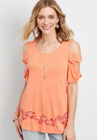 embroidered cold shoulder tee