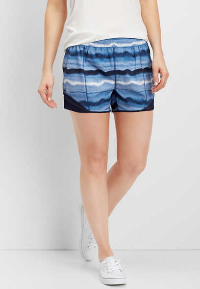 navy watercolor stripe active short