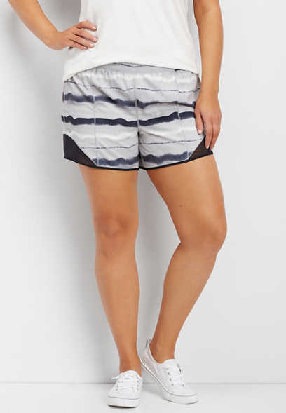 plus size watercolor stripe active short
