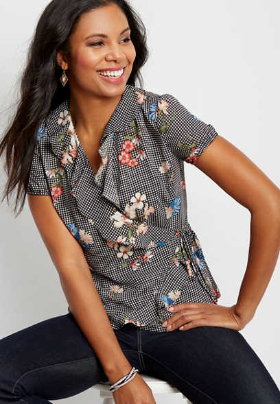floral gingham wrap blouse