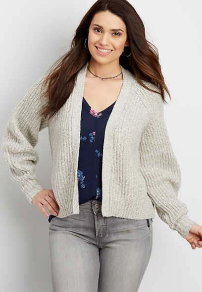 balloon sleeve open front cardigan