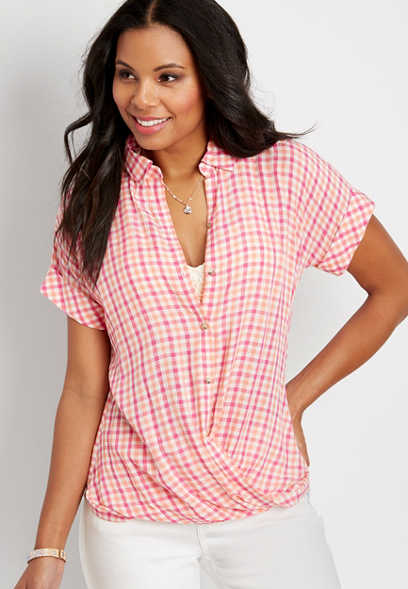 gingham short sleeve wrap shirt