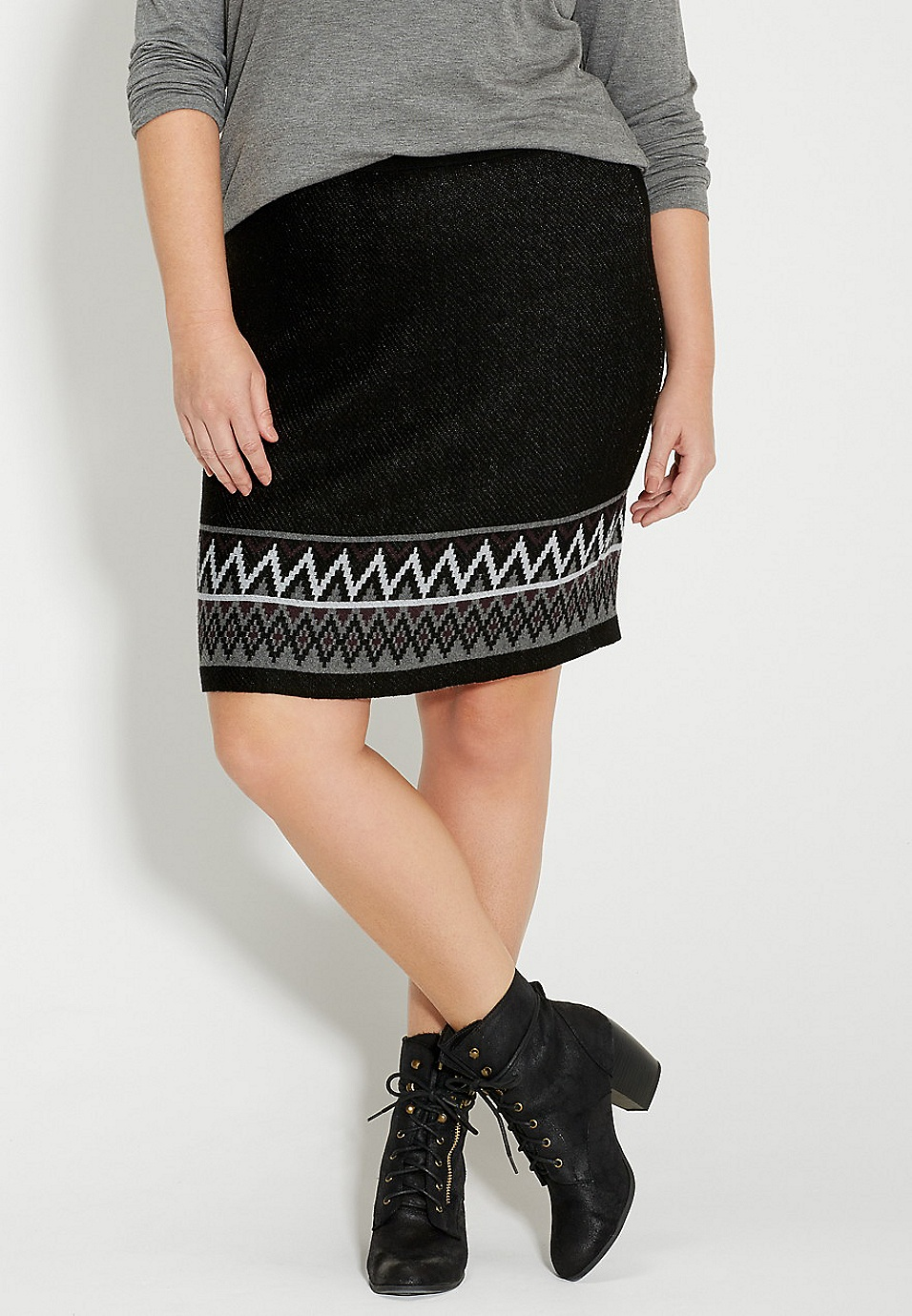 abd2fca2ac3 plus size sweater skirt with patterned border