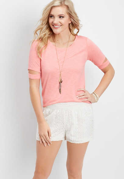 lace pull on soft short