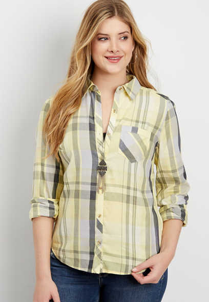 yellow plaid button down shirt