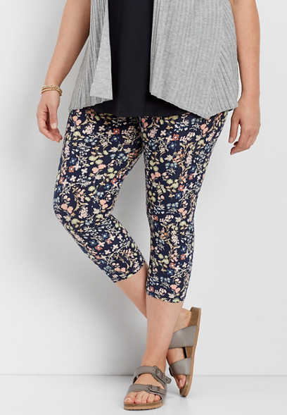plus size floral crop leggings