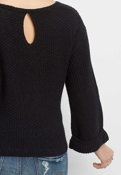 crop pullover sweater with bell sleeves and keyhole back